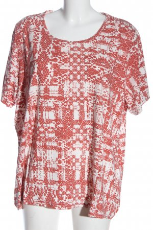 Collection L Batik shirt licht Oranje-wit abstract patroon casual uitstraling