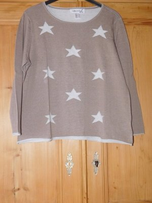 Collection L Crewneck Sweater taupe-white cotton