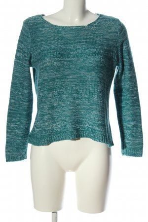 Collection L Crewneck Sweater turquoise flecked casual look