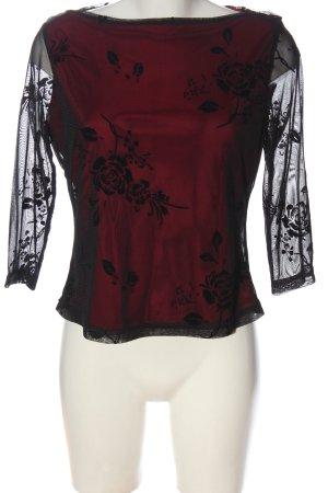 Collection Langarm-Bluse rot-schwarz Blumenmuster Elegant
