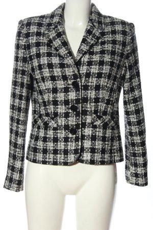 Collection Gebreide blazer wit-zwart geruite print casual uitstraling