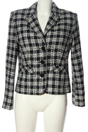 Collection Strickblazer weiß-schwarz Karomuster Casual-Look