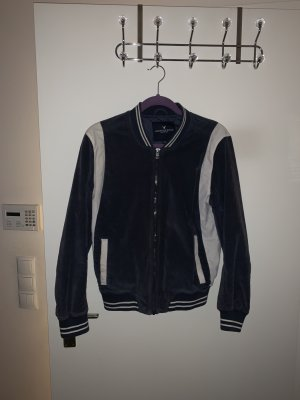 American Eagle Outfitters Chaqueta estilo universitario azul oscuro-blanco