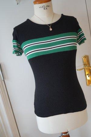 Stradivarius Camisa acanalada negro-verde