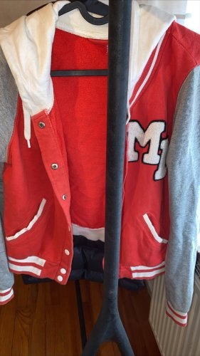 H&M Giacca college bianco-rosso