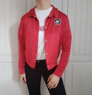 Collegejacke College Bomber Bomberjacke Rot Oversize Pulli Pullover Hoodie Cardigan