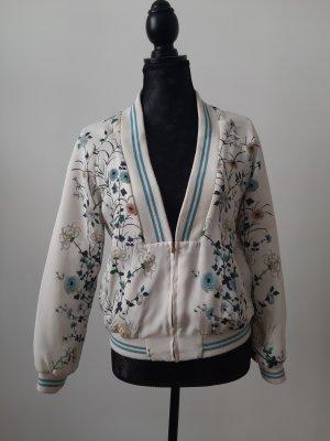 Zara Chaqueta estilo universitario blanco-azul celeste