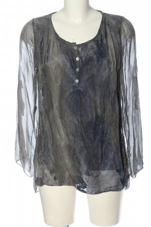 Collezione Gaia Long Sleeve Blouse light grey-blue abstract pattern elegant