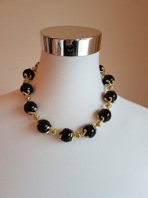 Collar estilo collier negro-color oro