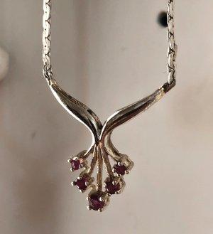 Collier 925 Silber Edelsteine rubin rot Kette Halskette 70s vintage