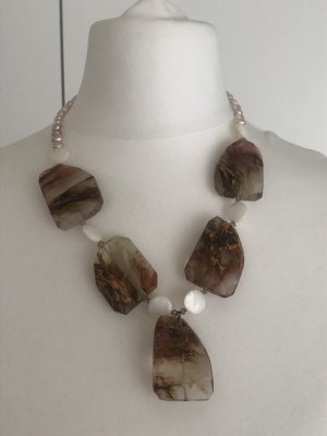 Collier Necklace brown-white