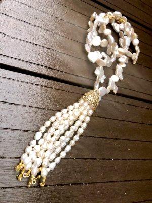 Collier Barock Perlen Kette Quaste Unikat
