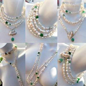 Collier Barock Perlen Süßwasserperlen Jade Anhänger Barock Perle abnehmbar