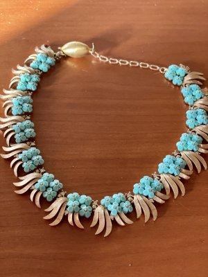 Collier Blumen türkis