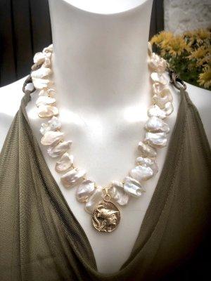 Collier Designer Barock Nuggets Perlen Kette Anhänger Münze Unikat