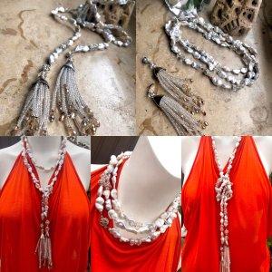 KCD Katecreativdesign Naszyjnik z perłami w kolorze białej wełny-srebrny