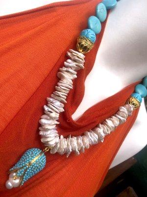 Collier Designer Barock Nuggets Perlen Kette Türkis Anhänger Blüte mit Barock Perle Unikat