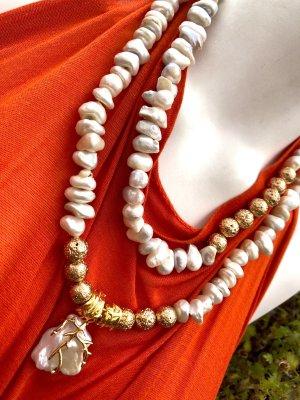 Collier Designer Barock Nuggets Perlen Kette vergoldete Lava Perlen Unikat