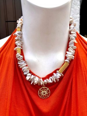 Collier Designer Barock Nuggets Perlenkette Anhänger Münze Unikat