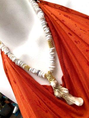 Collier Designer Barock Nuggets Perlenkette Anhänger versteinerte Koralle Unikat