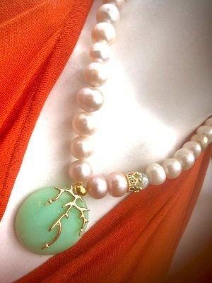 Collier Designer Barock Perlen Kette Anhänger Chrysopras Unikat