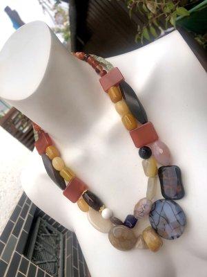 Collier Designer Kette Achat Calzite Jaspis Howlith Unikat