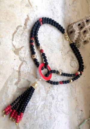 Collier Designer Kette Achat Koralle vergoldete Lava Perlen Quaste Unikat