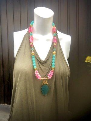 Collier Designer Kette Amazonit Jade Unikat