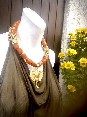 Collier Designer Kette Bernstein Azurit Afrikanischer Türkis Anhänger Elefant Unikat