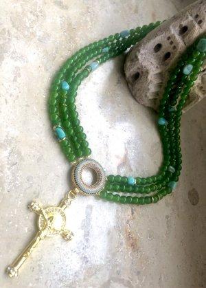 Collier Designer Kette Jade Amazonit Anhänger Kreiz