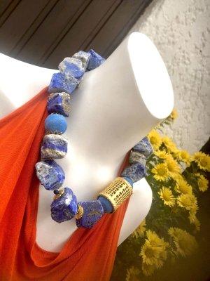 Collier Designer Kette Lapislazuli Rohsteine Lava Perlen Unikat