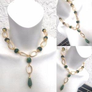 Collana verde bosco-oro