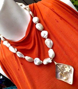 Collier Designer Luxus Barock Perle Münzen  Anhänger Perlmutt Mother of Pearls Unikat