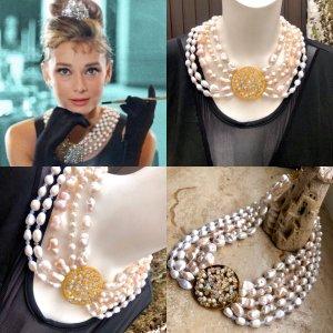 Collier Designer Luxus Barock Perlen Kette Kristalle