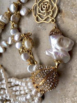 Collier Designer Luxus Barock Perlen Kette Quaste Unikat