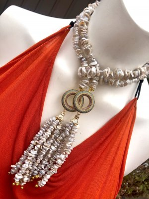 Collier Designer Perlen Barock Perlen Nuggets Quaste Unikat