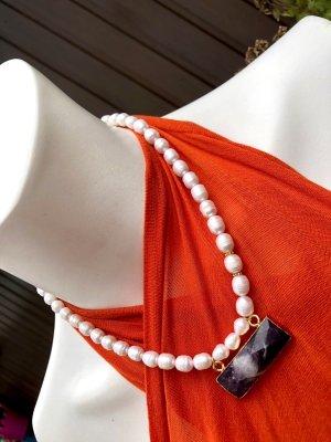 Collier Designer Perlen Kette Anhänger Amethyst Unikat