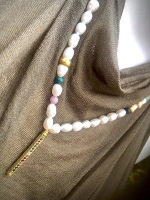 Collier Designer Perlen Kette Jade Rosenquarz Jaspis Unikat