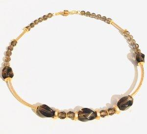 Collier Halskette aus facettierten Rauchquarz Perlen und vergoldetes Kupfer