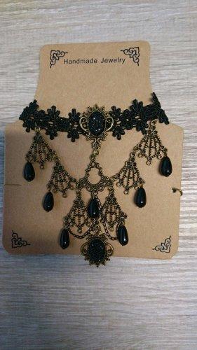 Collier Necklace black-gold-colored mixture fibre