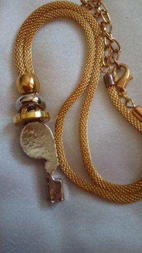 Collier Halskette Goldschlauch  mit Silberfarbe Element