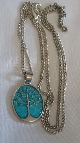 Collar estilo collier color plata-turquesa