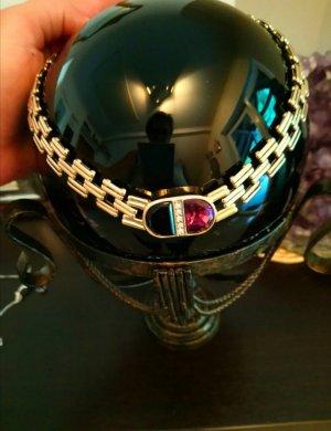 Collier Halskette mit Steine Gold