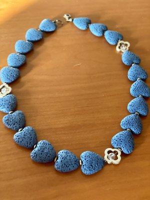 Collier Herzen blau
