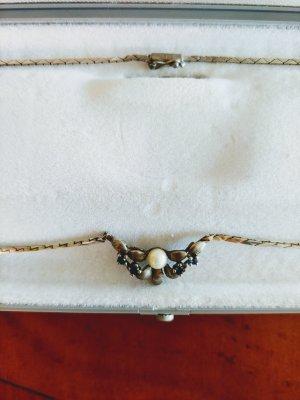 Collier in Silber mit Perle und Saphiren