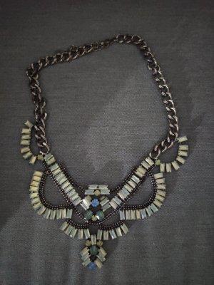 Bijou Brigitte Zdobiony naszyjnik srebrny-jasnoniebieski
