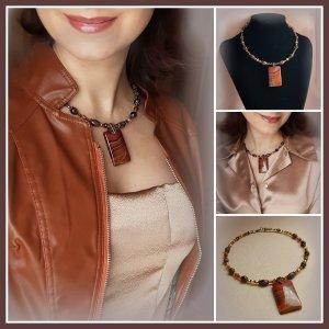 Collier mit Natursteinen Halskette