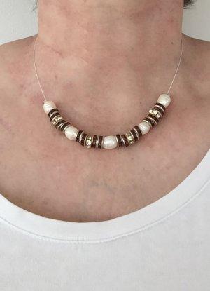 no name Collier de perles blanc-argenté tissu mixte