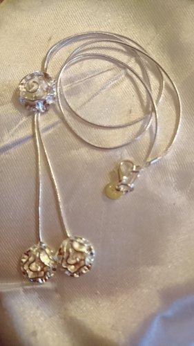 Collier Schlangenkette Kette Silber mit Blumen Anhänger