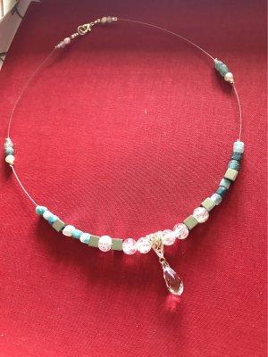 Collier / Süßwasser  Perlen  , gecrackten      , gecrackten Kristall  Perlen  , versilberten  Hämatitwürfeln